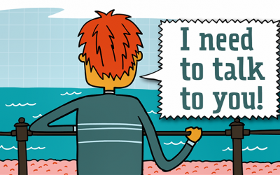 "Animation of person facing the sea and saying ""I need to talk to you"""