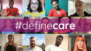 #definecare image of carers leavers from across the country to coming together virtually during the lockdown to create a collaborative poem about how they define care.