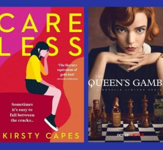 Image of Care Less book and Queens Gambit show