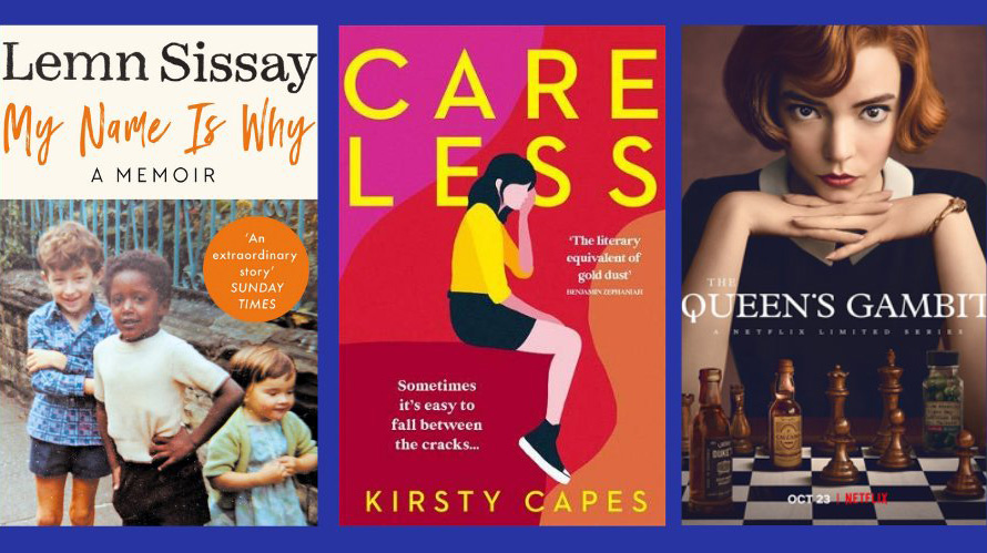 Cover images of: My Name Is Why, Care Less and The Queens Gambit.